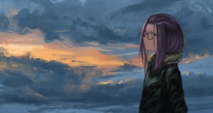 Rating: Safe Score: 20 Tags: blue_eyes clouds glasses kagamihara_sakura kagumanikusu purple_hair short_hair sky yuru_camp User: RyuZU