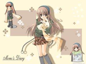 Rating: Safe Score: 25 Tags: animal brown_eyes brown_hair kneehighs long_hair rabbit scarf skirt User: Oyashiro-sama