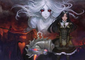 Rating: Safe Score: 165 Tags: alice_(wonderland) alice_in_wonderland black_hair dress red_eyes tagme teddy_yang weapon white_hair User: opai