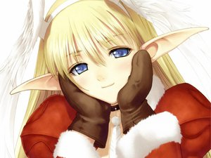 Rating: Safe Score: 64 Tags: blonde_hair blue_eyes christmas close elf elwing gloves headband santa_costume shining_tears shining_wind taka_tony wings User: garypan