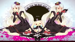 Rating: Safe Score: 72 Tags: boots bow chikashige dress elbow_gloves gloves headdress long_hair mayu_(vocaloid) teddy_bear vocaloid weapon white_hair yellow_eyes User: FormX