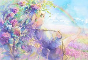 Rating: Safe Score: 66 Tags: 888myrrh888 barefoot blonde_hair blush clouds dress flowers green_eyes original rainbow sky User: BattlequeenYume