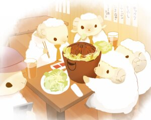 Rating: Safe Score: 10 Tags: animal chai_(artist) cropped drink food group hat nobody original polychromatic sheep signed tie User: otaku_emmy