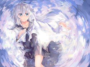 Rating: Safe Score: 54 Tags: anthropomorphism aqua_eyes dress gray_hair hibiki_(kancolle) kantai_collection long_hair petals school_uniform shinsoyori water User: RyuZU