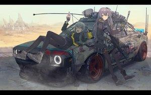 Rating: Safe Score: 148 Tags: 2girls anthropomorphism car desert girls_frontline gun ladic pantyhose ump-40_(girls_frontline) ump-45_(girls_frontline) weapon User: FormX
