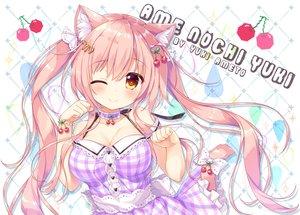 Rating: Safe Score: 42 Tags: ameto_yuki animal_ears blush breasts catgirl cherry cleavage dress food fruit long_hair original tail twintails watermark wink wristwear User: aaayu