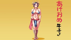 Rating: Safe Score: 20 Tags: animal_ears bell bikini_top breasts chain cleavage cowgirl glasses gradient horns original third-party_edit wokada yellow User: gnarf1975