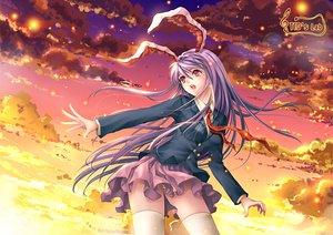 Rating: Safe Score: 74 Tags: animal_ears bunny_ears bunnygirl clouds red_eyes reisen_udongein_inaba school_uniform signed skirt sky thighhighs tidsean touhou User: Tensa