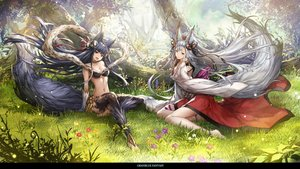 Rating: Safe Score: 335 Tags: 2girls animal_ears barefoot bell black_hair breasts cleavage flowers forest foxgirl gloves granblue_fantasy grass komecchi leaves long_hair navel socie_(granblue_fantasy) tail thighhighs tree white_hair wolfgirl yuel_(granblue_fantasy) User: Flandre93