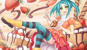 Rating: Safe Score: 19 Tags: aqua_hair cake dress food fruit green_eyes monogatari_(series) ononoki_yotsugi short_hair sunimu thighhighs tsukimonogatari User: RyuZU