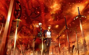 Rating: Safe Score: 98 Tags: all_male archer berserk bleach crossover dark_skin emiya_shirou fate/stay_night fire male orange_hair red skyt2 sword weapon white_hair zangetsu User: HawthorneKitty