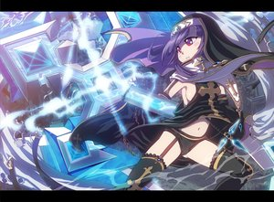 Rating: Questionable Score: 49 Tags: chain claire_(dorapo) cross dragon_poker navel nun purple_eyes purple_hair shope stockings User: FormX