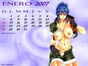 Rating: Questionable Score: 58 Tags: blue_hair breasts calendar gloves king_of_fighters leona nipples panties shorts underwear User: Oyashiro-sama