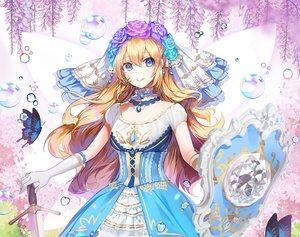 Rating: Safe Score: 43 Tags: applecaramel_(acaramel) aqua_eyes blonde_hair bubbles butterfly choker dress elbow_gloves flowers gloves headdress long_hair original rose sword weapon User: otaku_emmy