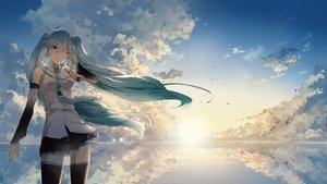 Rating: Safe Score: 79 Tags: blue_eyes clouds green_hair hatsune_miku long_hair reflection scenic skirt sky tagme_(artist) thighhighs tie twintails vocaloid water wink User: BattlequeenYume