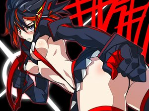 Rating: Questionable Score: 188 Tags: black_hair blue_eyes blush breasts k6 kill_la_kill matoi_ryuuko red_hair short_hair skirt underboob weapon User: Shinigami-Seed