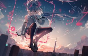 Rating: Safe Score: 63 Tags: building city clouds dleung green_eyes green_hair hatsune_miku long_hair music pantyhose polychromatic skirt sky sunset twintails vocaloid wink User: BattlequeenYume