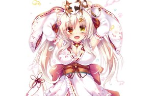 Rating: Safe Score: 75 Tags: animal animal_ears bell bicolored_eyes blonde_hair blush bow breasts cat catgirl choker fang japanese_clothes lolita_fashion long_hair syroh white yukata User: RyuZU