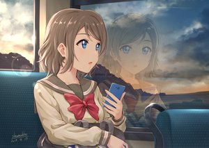 Rating: Safe Score: 50 Tags: blue_eyes bow brown_hair clouds love_live!_school_idol_project love_live!_sunshine!! phone reflection seifuku shamakho short_hair signed sky watanabe_you User: RyuZU
