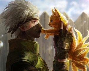 Rating: Safe Score: 217 Tags: all_male animal close cropped gloves hatake_kakashi headband male mask multiple_tails naruto oreki_genya tail waifu2x User: mattiasc02