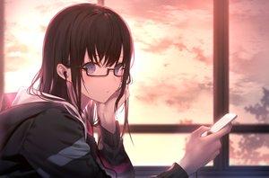 Rating: Safe Score: 238 Tags: black_hair blue_eyes close clouds glasses headphones hoodie long_hair original phone shinooji sky User: BattlequeenYume
