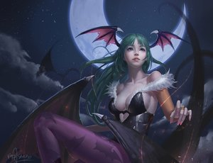 Rating: Safe Score: 217 Tags: bodysuit breasts cleavage darkstalkers demon long_hair moon morrigan_aensland night pantyhose realistic riyueseven signed stars succubus wings User: Flandre93