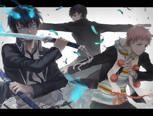 Rating: Safe Score: 74 Tags: all_male ao_no_exorcist black_hair blue_eyes blue_hair feathers fire glasses gun katana male okumura_rin okumura_yukio pink_hair pointed_ears robinexile shima_renzou sword tie weapon yellow_eyes User: SonicBlue