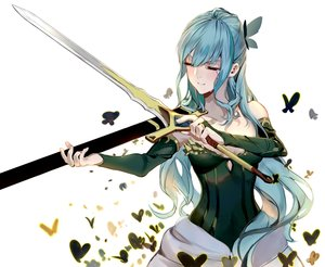 Rating: Safe Score: 23 Tags: blue_hair butterfly dress elbow_gloves gloves long_hair lost_song sword tears weapon white xinhong_ditan User: otaku_emmy