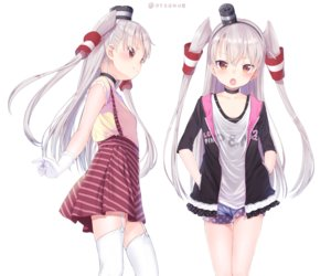 Rating: Safe Score: 53 Tags: amatsukaze_(kancolle) anthropomorphism blush choker cropped dx_(dekusu) flat_chest garter_belt gloves gray_hair headband hoodie kantai_collection loli long_hair orange_eyes shorts signed skirt stockings thighhighs twintails white User: otaku_emmy