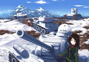 Rating: Safe Score: 132 Tags: aqua_eyes brown_hair clouds combat_vehicle girls_und_panzer landscape nightmaremk2 nonna scenic sky snow User: FormX