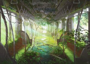 Rating: Safe Score: 91 Tags: green mocha_(cotton) nobody original ruins scenic signed train tree User: FormX