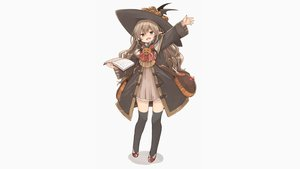 Rating: Safe Score: 81 Tags: blush book brown_hair dress halloween hat long_hair murakami_meishi original photoshop pointed_ears pumpkin purple_eyes thighhighs white witch witch_hat zettai_ryouiki User: Dummy