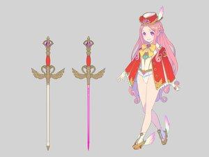Rating: Safe Score: 36 Tags: bow braids gray hat leotard long_hair nagisa_kurousagi original pink_eyes pink_hair sword weapon User: otaku_emmy