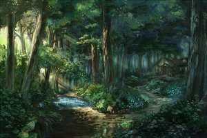 Rating: Safe Score: 156 Tags: c.z. forest leaves scenic touhou tree water User: opai