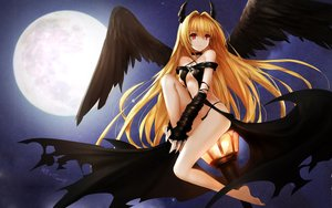 Rating: Questionable Score: 157 Tags: blonde_hair collar golden_darkness hanshu horns long_hair moon night red_eyes signed to_love_ru to_love_ru_darkness wings User: Flandre93