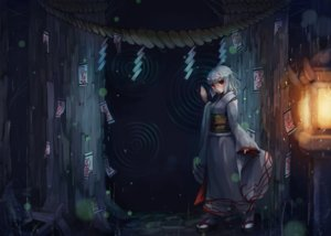 Rating: Safe Score: 77 Tags: dark demon horns japanese_clothes kajaneko kimono ofuda original red_eyes rope short_hair socks tree white_hair User: Flandre93