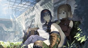 Rating: Safe Score: 60 Tags: 2girls blush boots brown_eyes brown_hair drink gloves grass gun headband koruse long_hair original paper ponytail purple_eyes purple_hair ruins shade weapon User: BattlequeenYume