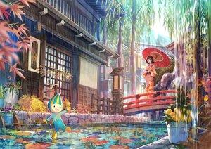 Rating: Safe Score: 55 Tags: animal blush brown_eyes brown_hair building fish flowers fuji_choko japanese_clothes kimono original rain short_hair tree water User: RyuZU