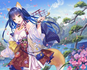 Rating: Safe Score: 80 Tags: animal_ears blue_hair cherry_blossoms clouds fang flowers foxgirl japanese_clothes original sky smoking tail torii water yamyom yellow_eyes User: BattlequeenYume