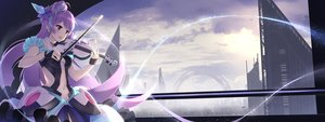 Rating: Safe Score: 105 Tags: alc_(ex2_lv) building city clouds dualscreen instrument long_hair macross macross_delta mikumo_guynemer purple_eyes purple_hair sunset violin User: FormX