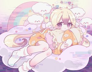 Rating: Safe Score: 17 Tags: aeruusa blonde_hair brown_eyes clouds loli long_hair mahou_shoujo_ikusei_keikaku nemurin pajamas socks stars User: otaku_emmy