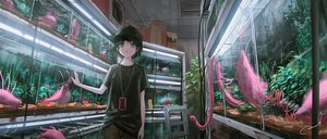 Rating: Safe Score: 20 Tags: black_hair green_eyes hat original phone reoen short_hair signed tentacles water User: FormX