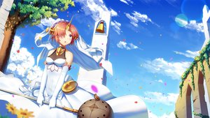 Rating: Safe Score: 48 Tags: animal bell bicolored_eyes bird breasts clouds dress elbow_gloves fate/apocrypha fate_(series) frankenstein gloves horns ji_dao_ji short_hair sky tree weapon User: RyuZU
