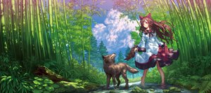 Rating: Safe Score: 45 Tags: animal animal_ears brown_hair clouds forest imaizumi_kagerou long_hair red_eyes sky tail teiraa touhou tree water wolf wolfgirl User: RyuZU