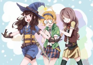 Rating: Safe Score: 49 Tags: akko_kagari aliasing aqua_eyes blonde_hair brown_hair glasses gloves gosledging hat headband little_witch_academia long_hair lotte_yanson short_hair shorts skirt sucy_manbavaran thighhighs tie witch_hat User: RyuZU