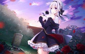 Rating: Safe Score: 85 Tags: aliasing braids clouds flowers gray_hair headband kisaragi_yuri original purple_eyes rose skirt sky User: BattlequeenYume
