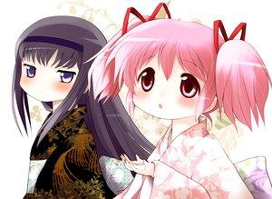 Rating: Safe Score: 21 Tags: 2girls akemi_homura black_hair blue_eyes blush japanese_clothes kaname_madoka kimono long_hair mahou_shoujo_madoka_magica pink_eyes pink_hair twintails yukata yume_shokunin User: PAIIS