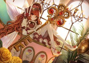 Rating: Safe Score: 61 Tags: bow braids brown_hair dress flowers gloves headdress lolita_fashion long_hair lushuao original pantyhose red_eyes rose User: BattlequeenYume