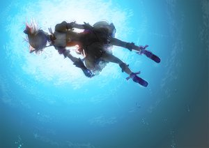 Rating: Safe Score: 93 Tags: bow bubbles dress gloves hitaki_azami jpeg_artifacts kaname_madoka mahou_shoujo_madoka_magica pink_hair twintails underwater water User: opai