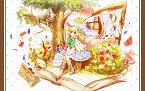 Rating: Safe Score: 33 Tags: alice_(wonderland) alice_in_wonderland animal blonde_hair boots cat dress flowers original ria tree User: opai